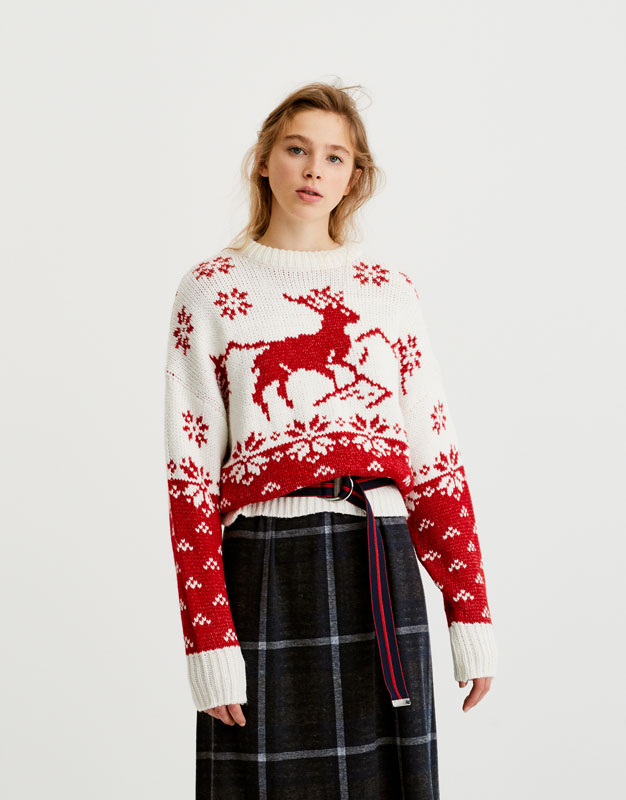 énorme réduction dd8bc 749d0 pull-noel-femme-traditionnel-blanc-rouge-pull-and-bear | My ...